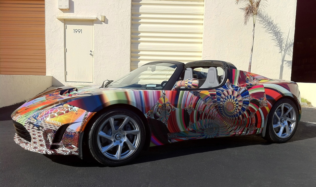 "Gartel's Tesla ""Art Car"" from Art Basel Miami Beach 2010"